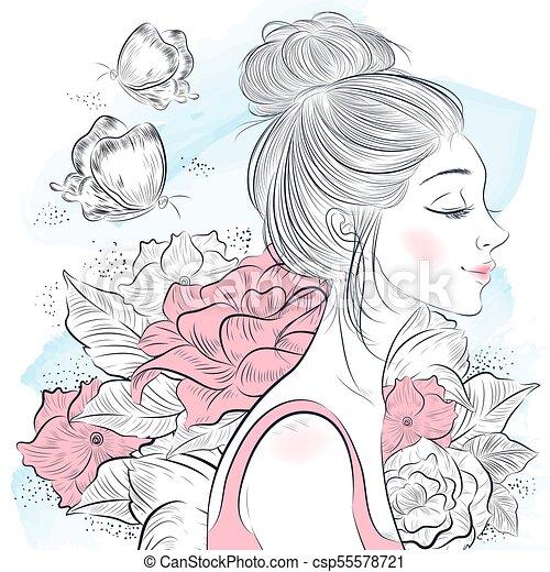 portret, piękna kobieta - csp55578721