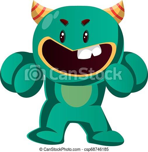 potwór, gniewny, ilustracja, walka, wektor, zielony, gotowy - csp68746185