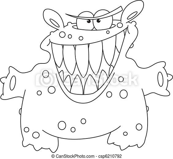 potwór, konturowany, śmiech - csp6210792