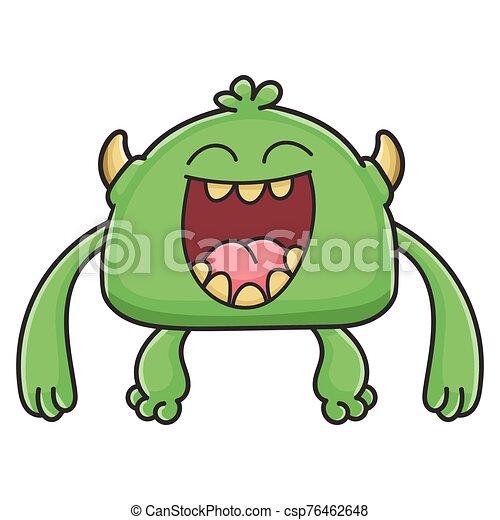potwór, rysunek, chochlik, śmiech, zielony - csp76462648
