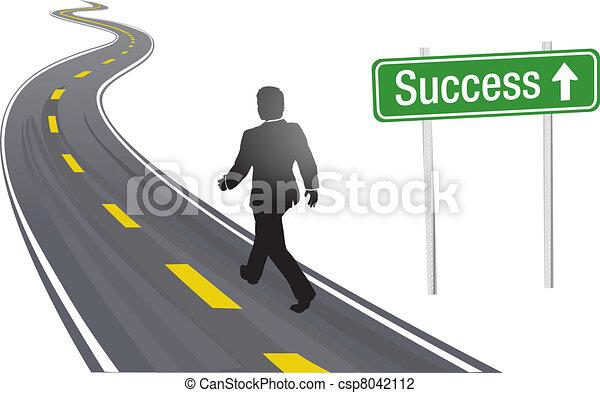 powodzenie, handlowy znaczą, chód, droga, człowiek - csp8042112