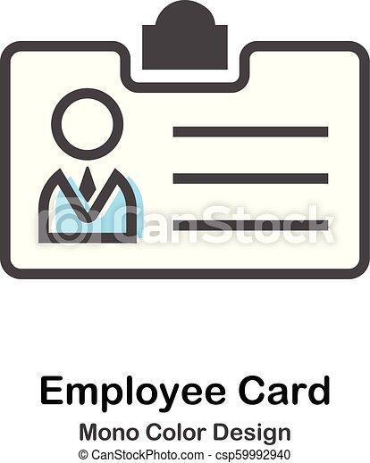 pracownik, mono, karta, ilustracja, kolor - csp59992940