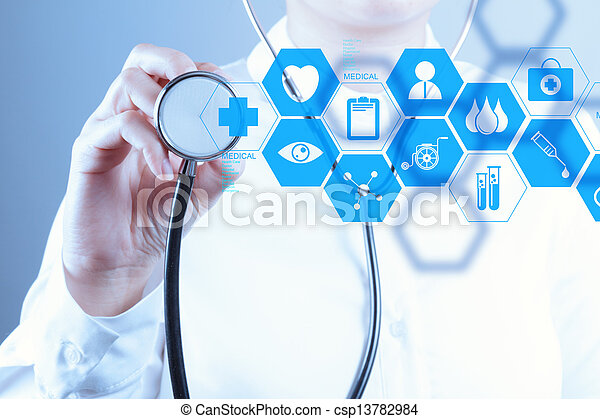 pracujący, doktor, nowoczesny, ręka, medycyna, komputer, interfejs - csp13782984