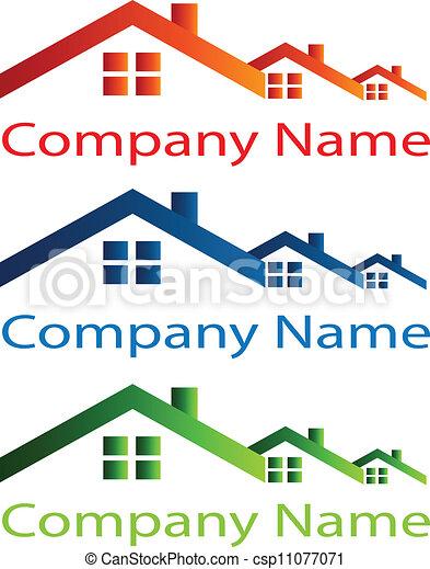 prawdziwy, dom, dach, stan, logo - csp11077071