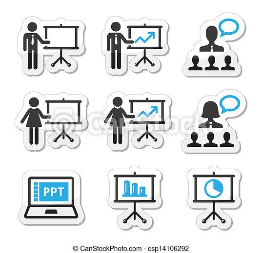 prezentacja, ikona, handlowy, wykład - csp14106292