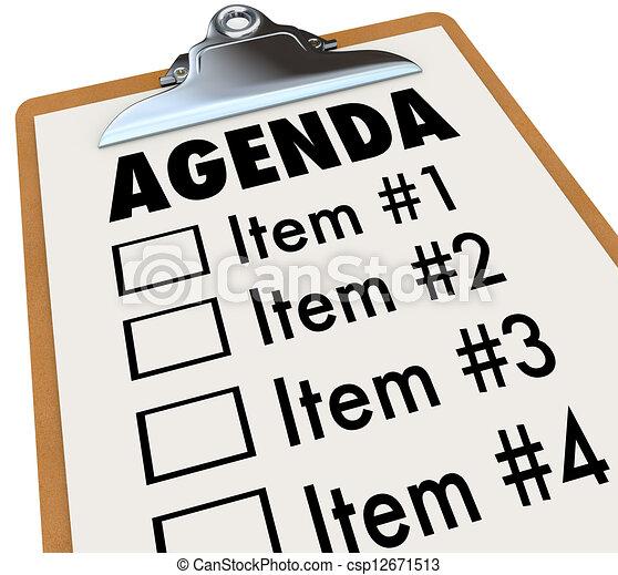 projekt, clipboard, plan, porządek dzienny, spotkanie, albo - csp12671513