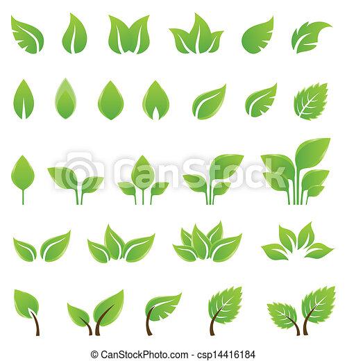 projektować, liście, komplet, zielony, elementy - csp14416184