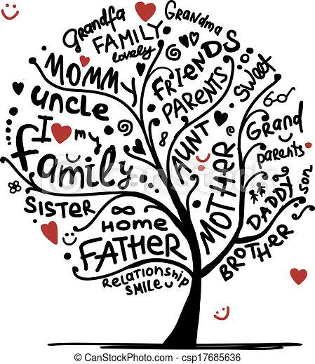 projektować, rys, drzewo, twój, rodzina - csp17685636