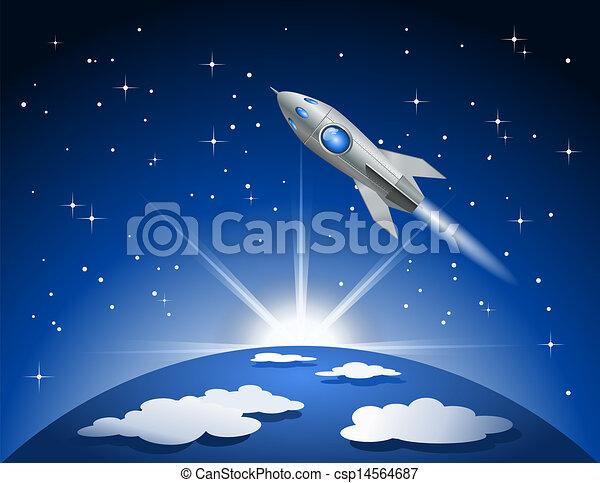 przelotny, rakieta, przestrzeń - csp14564687