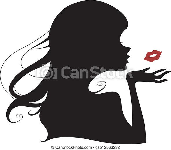 przelotny, sylwetka, pocałunek - csp12563232