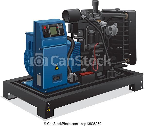 przemysłowy, dostarczcie energii elektrycznej generator - csp13838959