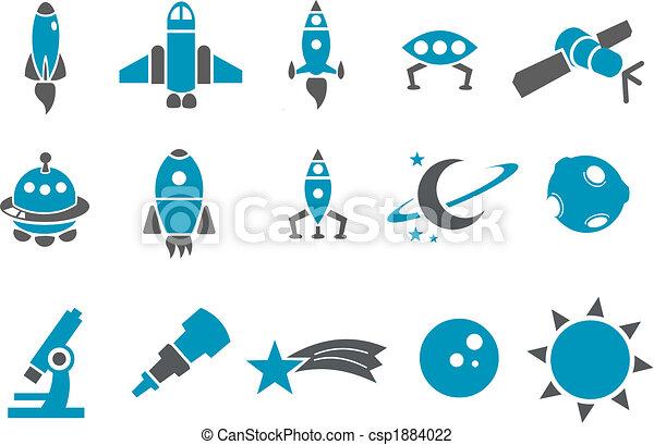 przestrzeń, komplet, ikona - csp1884022