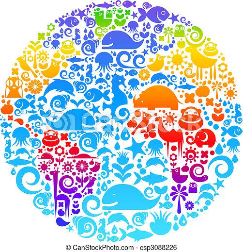 ptaszki, robiony, zwierzęta, szkic, ikony, kula, kwiaty - csp3088226