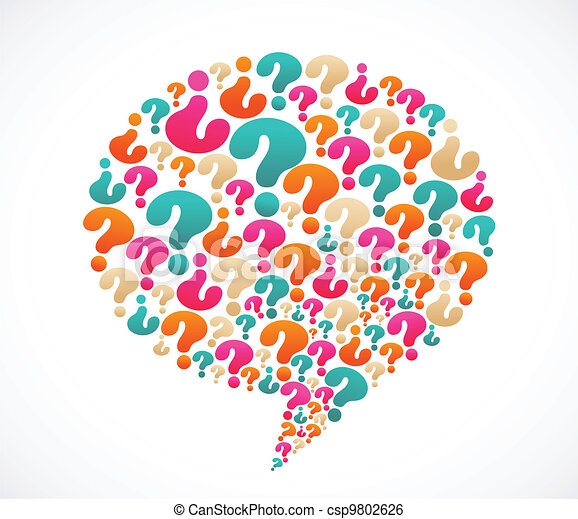 pytanie, mowa, marka, bańka, ikony - csp9802626