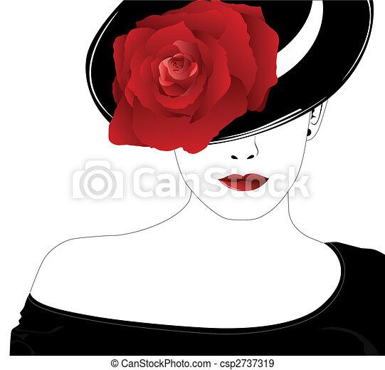 róża, kobieta, kapelusz - csp2737319