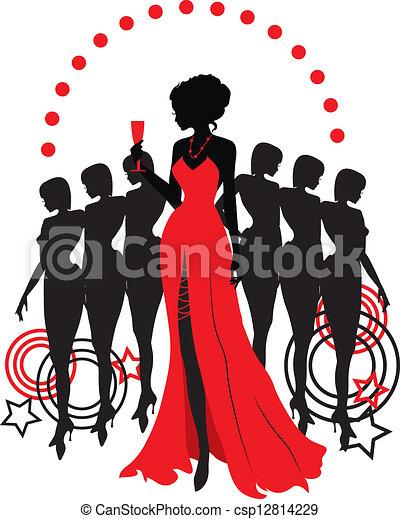 różny, graficzny, grupa, silhouettes., osoba, kobiety - csp12814229
