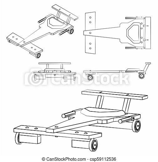 różny, soapbox, podobny, klasyczny wóz, brushstrokes, szkic - csp59112536