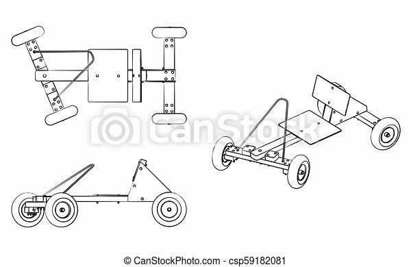różny, soapbox, szkic, wóz, brushstrokes, podobny - csp59182081