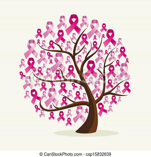 różowy, ablegry, eps10, odpoczynek, rak, drzewo, zorganizowany, editing., wektor, pierś, rząd, ribbons., konceptualny, świadomość - csp15832639