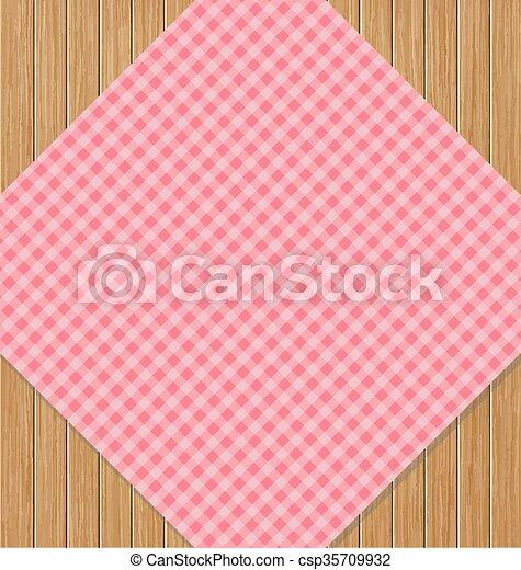 różowy, brązowy, klatkowy, drewniany, dąb, stół, tablecloth - csp35709932