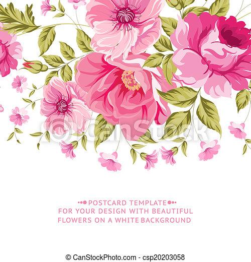 różowy kwiat, tekst, ozdoba, label., ozdobny - csp20203058
