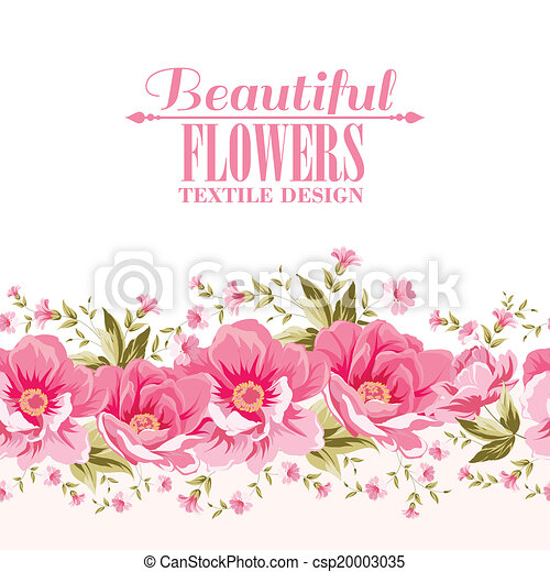 różowy kwiat, tekst, ozdoba, label., ozdobny - csp20003035