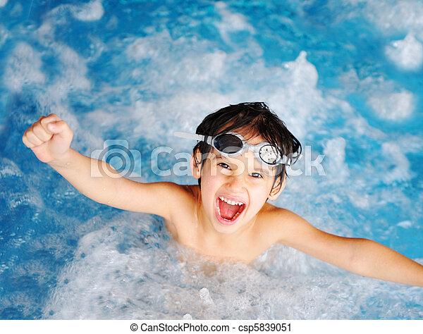 radość, dzieci, szczęście, kałuża - csp5839051
