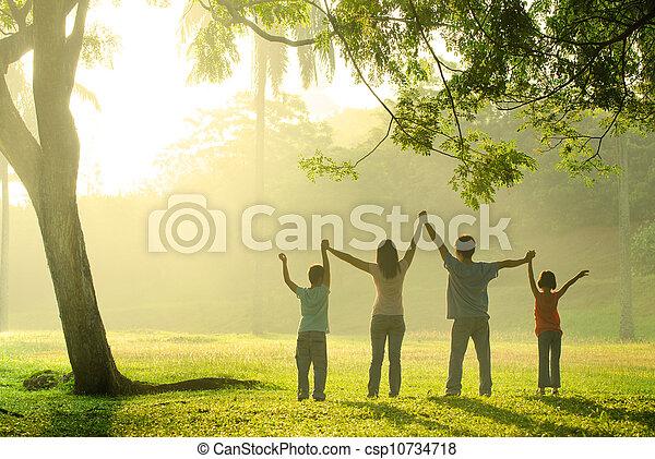 radość, skokowy, asian rodzina - csp10734718