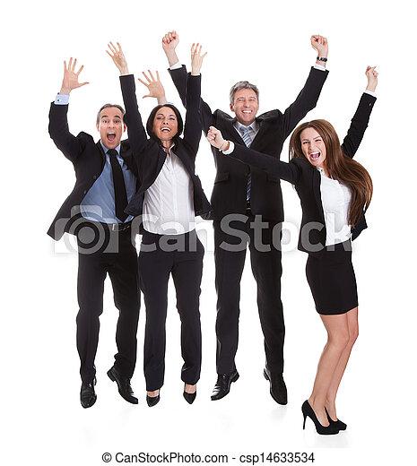 radość, skokowy, businesspeople, szczęśliwy - csp14633534