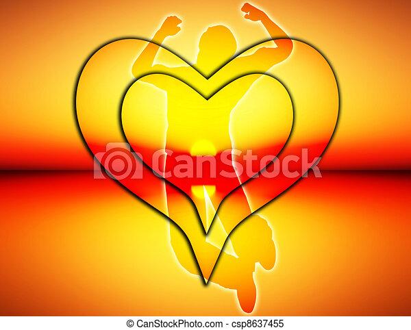 radość, skokowy, miłość - csp8637455