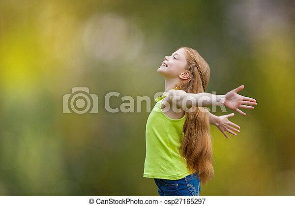 radość, wiara, dziecko, chwalić, koźlę, szczęście - csp27165297