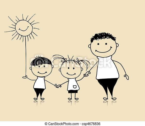 razem, rysunek, szczęśliwy, dzieci, ojciec, rodzina, uśmiechanie się, rys - csp4676836