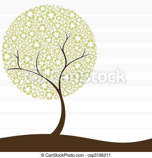recycling, pojęcie, drzewo, retro - csp3196211
