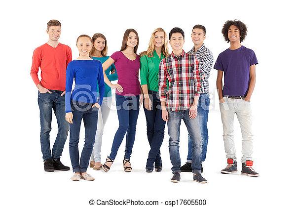 reputacja, pełny, ludzie, ludzie., odizolowany, młody, radosny, znowu, aparat fotograficzny, przypadkowy, długość, biały, uśmiechanie się - csp17605500