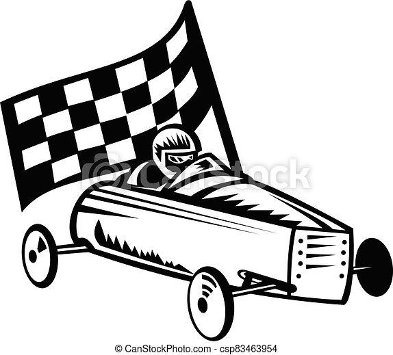 retro, rocznik wina, biały, albo, derby, biegi, biegacz, mydło, bandera, soapbox, wóz, czarnoskóry, boks - csp83463954
