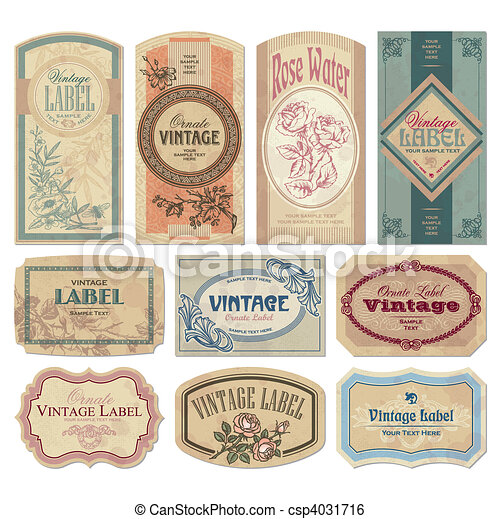rocznik wina, etykiety, komplet, (vector) - csp4031716