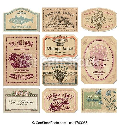 rocznik wina, etykiety, komplet, (vector) - csp4763066