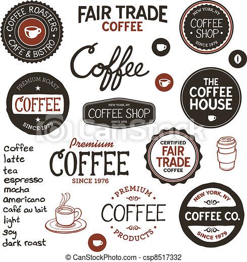 rocznik wina, kawa, etykiety, tytuł - csp8517332