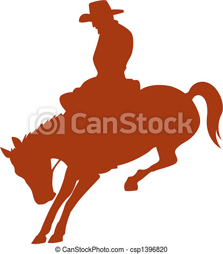 rodeo, kowboj, sylwetka, jeździec konia - csp1396820