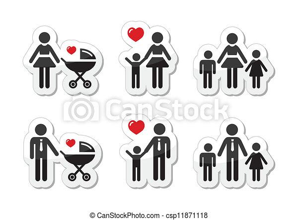 rodzic, rodzina, ikony, -, znak, jednorazowy - csp11871118