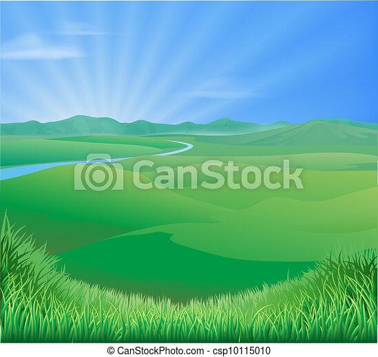 rolny krajobraz, ilustracja - csp10115010