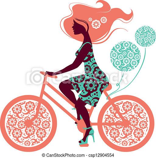 rower, dziewczyna, sylwetka, piękny - csp12904554