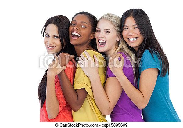 rozmaity, śmiech, aparat fotograficzny, kobiety, obejmowanie, młody - csp15895699