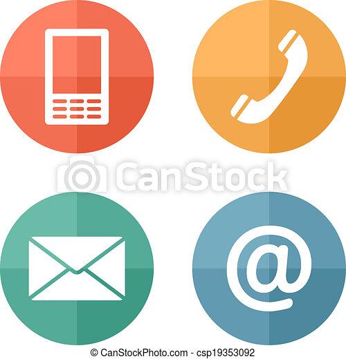 ruchomy, komplet, ikony, koperta, -, pikolak, kontakt, telefon, poczta - csp19353092