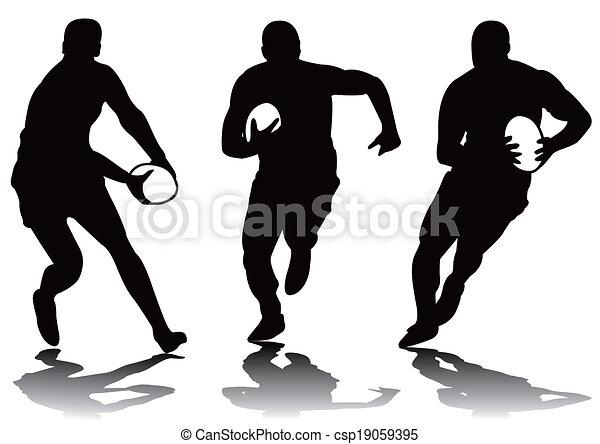 rugby, sylwetka, trzy - csp19059395