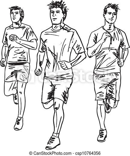 rys, mężczyźni, runners., ilustracja, wektor, maraton - csp10764356