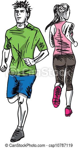 rys, para, runners., ilustracja, wektor, maraton - csp10787119