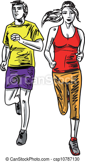 rys, para, runners., ilustracja, wektor, maraton - csp10787130