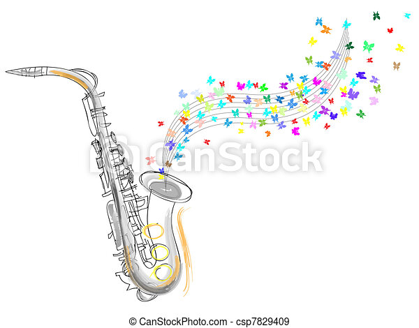 rys, saksofon - csp7829409