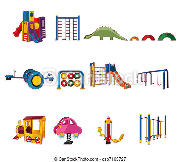 rysunek, ikona, park, plac gier i zabaw - csp7163727